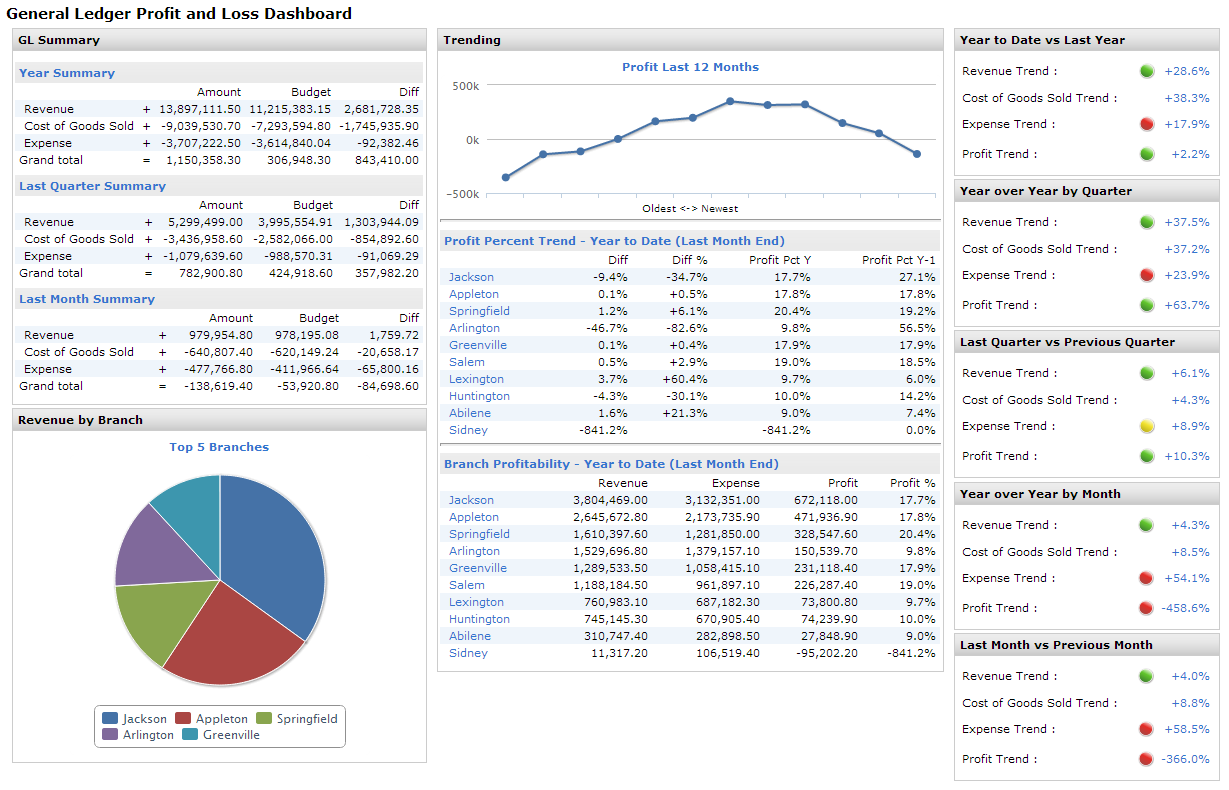 Business Intelligence Profit And Loss Dashboard